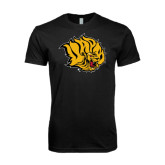 Next Level SoftStyle Black T Shirt-Golden Lion Head