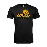 Next Level SoftStyle Black T Shirt-UAPB Lion Head Stacked