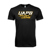 Next Level SoftStyle Black T Shirt-UAPB Golden Lions Stacked