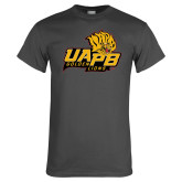 Charcoal T Shirt-UAPB Lion Head Stacked