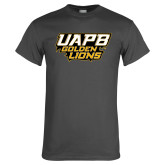 Charcoal T Shirt-UAPB Golden Lions Stacked
