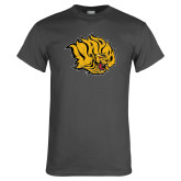 Charcoal T Shirt-Golden Lion Head Distressed