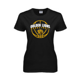 Ladies Black T Shirt-Basketball  Arched w/ Ball