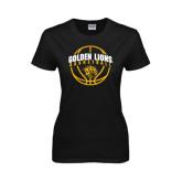 Ladies Black T Shirt-Basketball  Arched w/ Ball