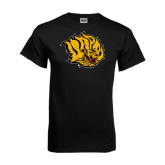 Black T Shirt-Golden Lion Head Distressed