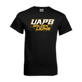 Black T Shirt-UAPB Golden Lions Stacked