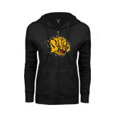 ENZA Ladies Black Fleece Full Zip Hoodie-Golden Lion Head