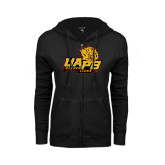ENZA Ladies Black Fleece Full Zip Hoodie-UAPB Lion Head Stacked