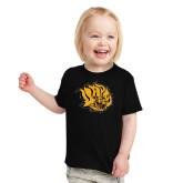 Toddler Black T Shirt-Golden Lion Head