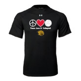 Under Armour Black Tech Tee-Peace Love & Volleyball