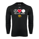 Under Armour Black Long Sleeve Tech Tee-Peace Love & Volleyball
