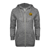 ENZA Ladies Grey/Black Marled Full Zip Hoodie-Golden Lion Head