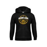Youth Black Fleece Hood-Basketball  Arched w/ Ball