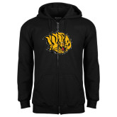 Black Fleece Full Zip Hoodie-Golden Lion Head