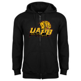 Black Fleece Full Zip Hoodie-UAPB Lion Head Stacked