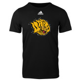Adidas Black Logo T Shirt-Golden Lion Head