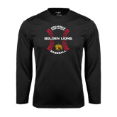 Performance Black Longsleeve Shirt-Baseball Circle w/ Seams