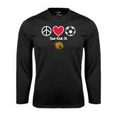 Performance Black Longsleeve Shirt-Soccer Just Kick It