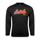 Syntrel Performance Black Longsleeve Shirt-Softball Script
