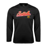 Performance Black Longsleeve Shirt-Softball Script