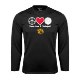 Syntrel Performance Black Longsleeve Shirt-Peace Love & Volleyball