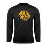 Syntrel Performance Black Longsleeve Shirt-Golden Lion Head