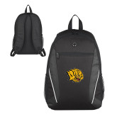 Atlas Black Computer Backpack-Golden Lion Head