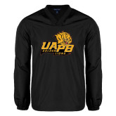 V Neck Black Raglan Windshirt-UAPB Lion Head Stacked