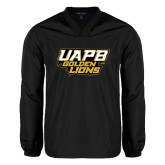 V Neck Black Raglan Windshirt-UAPB Golden Lions Stacked