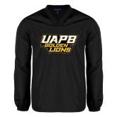 V Neck Black Raglan Windshirt-UAPB Golden Lions Stacked