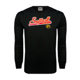 Black Long Sleeve TShirt-Softball Script
