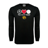 Black Long Sleeve TShirt-Peace Love & Volleyball