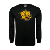 Black Long Sleeve TShirt-Golden Lion Head Distressed