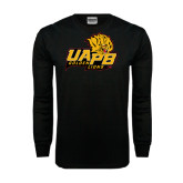 Black Long Sleeve TShirt-UAPB Lion Head Stacked