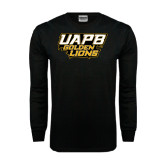 Black Long Sleeve TShirt-UAPB Golden Lions Stacked