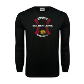 Black Long Sleeve TShirt-Baseball Circle w/ Seams