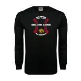 Black Long Sleeve TShirt-Baseball Circle w/ Seams