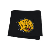 Black Sweatshirt Blanket-Golden Lion Head