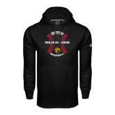 Under Armour Black Performance Sweats Team Hoodie-Baseball Circle w/ Seams