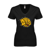 Next Level Ladies Junior Fit Deep V Black Tee-Golden Lion Head