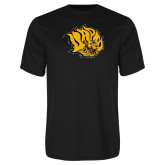 Syntrel Performance Black Tee-Golden Lion Head