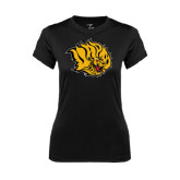 Ladies Syntrel Performance Black Tee-Golden Lion Head