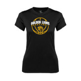 Ladies Syntrel Performance Black Tee-Basketball  Arched w/ Ball