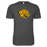 Next Level SoftStyle Charcoal T Shirt-Golden Lion Head