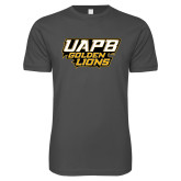 Next Level SoftStyle Charcoal T Shirt-UAPB Golden Lions Stacked
