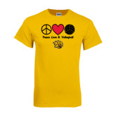 Gold T Shirt-Peace Love & Volleyball