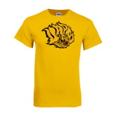 Gold T Shirt-Golden Lion Head Distressed