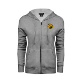 ENZA Ladies Grey Fleece Full Zip Hoodie-Golden Lion Head