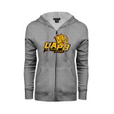 ENZA Ladies Grey Fleece Full Zip Hoodie-UAPB Lion Head Stacked