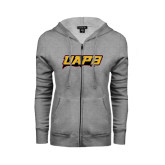 ENZA Ladies Grey Fleece Full Zip Hoodie-UAPB Word Mark